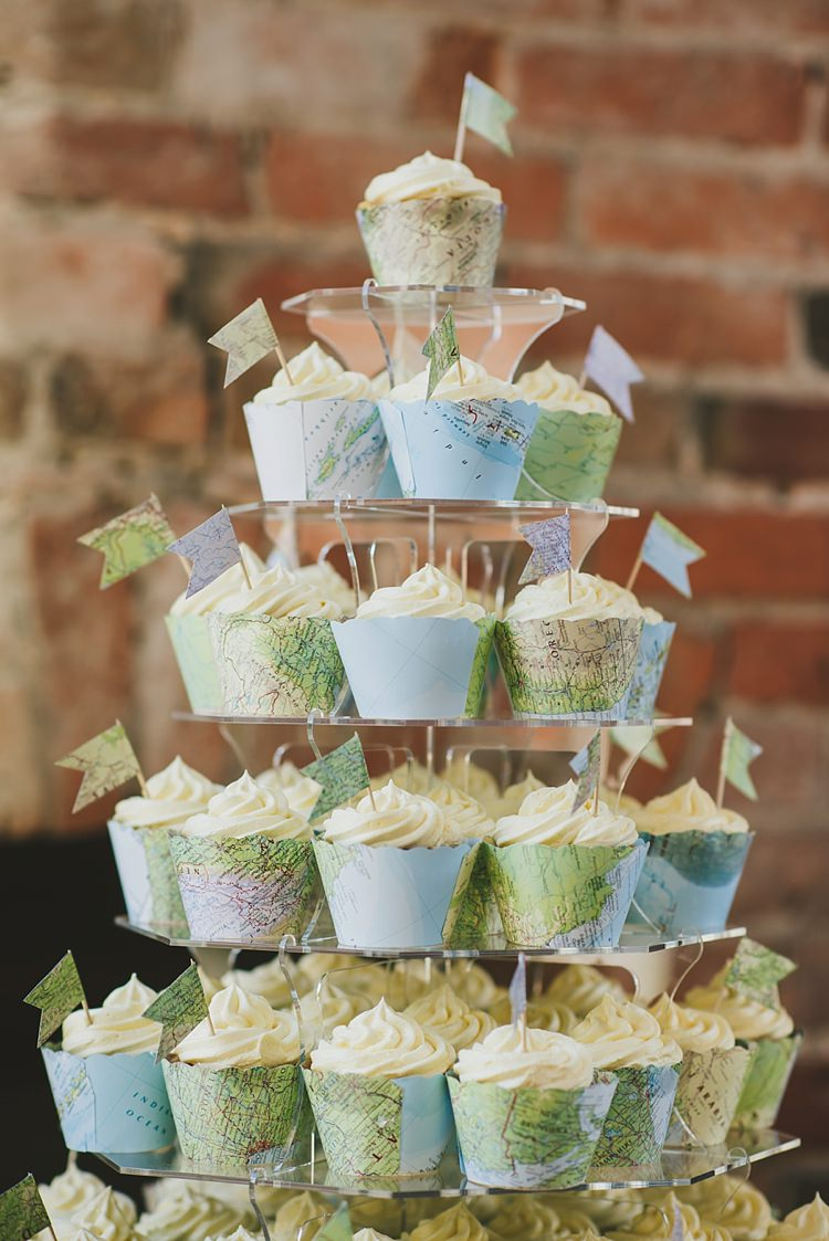 Cupcake Tower Untraditional Pretty Travel Barn Wedding https://www.georgimabee.com/