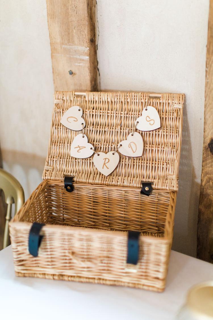 Card Basket Hamper Pastels Gold Pretty Summer Barn Wedding http://summerlilystudio.com/