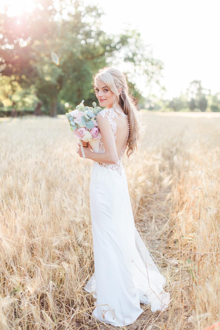 Dando London Bride Bridal Dress Gown Lace Plunge Straps Train Illusion Back Pastels Gold Pretty Summer Barn Wedding http://summerlilystudio.com/