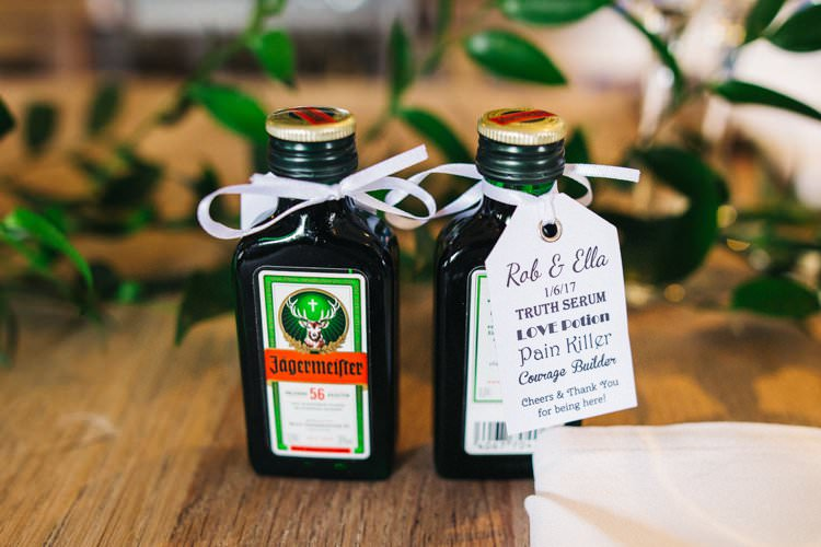Jagermeister Favour Luggage Tag Bespoke Printed Label Colourful Floral Family Friendly Wedding http://www.sallytphoto.com/
