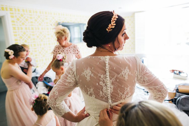 Bride Bridal Lace Long Sleeve Tea Length Dress Gown Louise Bentley Rose Gold Crown Hairpiece Colourful Floral Family Friendly Wedding http://www.sallytphoto.com/