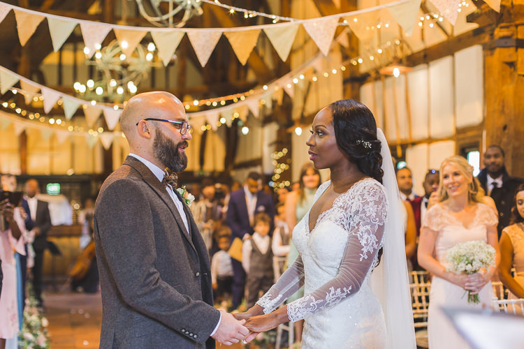 Bride Bridal Maggie Sottero Long Sleeved Lace Dress Sweetheart Groom House of Fraser Brown Tweed Suit Three Piece Waistcoat Veil Whimsical Romantic Barn Wedding http://kirstymackenziephotography.co.uk/