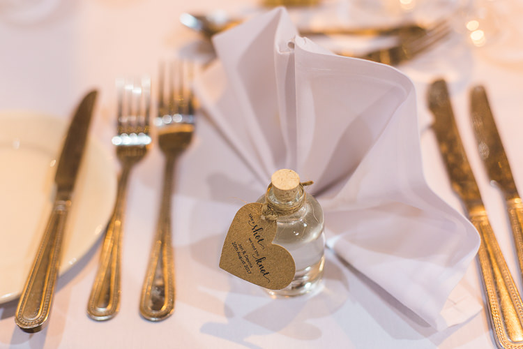 Favour Place Setting Tot Miniature Bottle Whimsical Romantic Barn Wedding http://kirstymackenziephotography.co.uk/