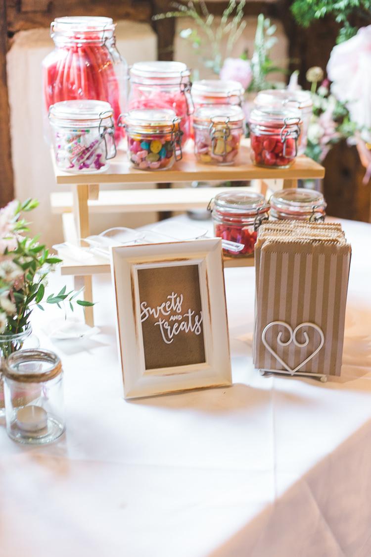 Sweet Treat Table Pick n Mix Jars Kilner Whimsical Romantic Barn Wedding http://kirstymackenziephotography.co.uk/