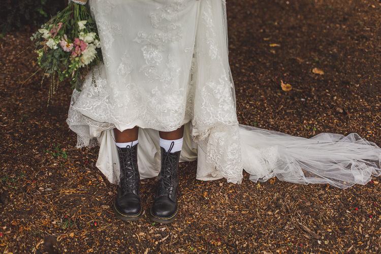 Bride Bridal Dr Martens Boots Dancing Shoes Dress Gown Whimsical Romantic Barn Wedding http://kirstymackenziephotography.co.uk/