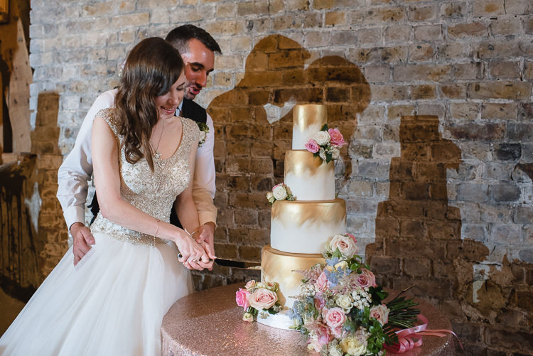 Bride Bridal Princess Embellished Sparkle Top Waistcoat Groom Bouquet Pastel Cake Cutting Gold Tiered Sequin Tablecloth Personal Homegrown Country Farm Wedding https://www.emmahare.com/