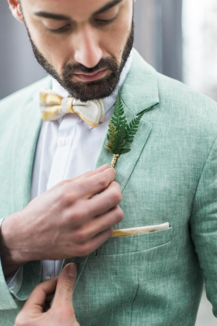 Groom Green Suit Fern Buttonhole Yellow Beige Bowtie Beard | Greenery Botanical Wedding Ideas https://lisadigiglio.com/
