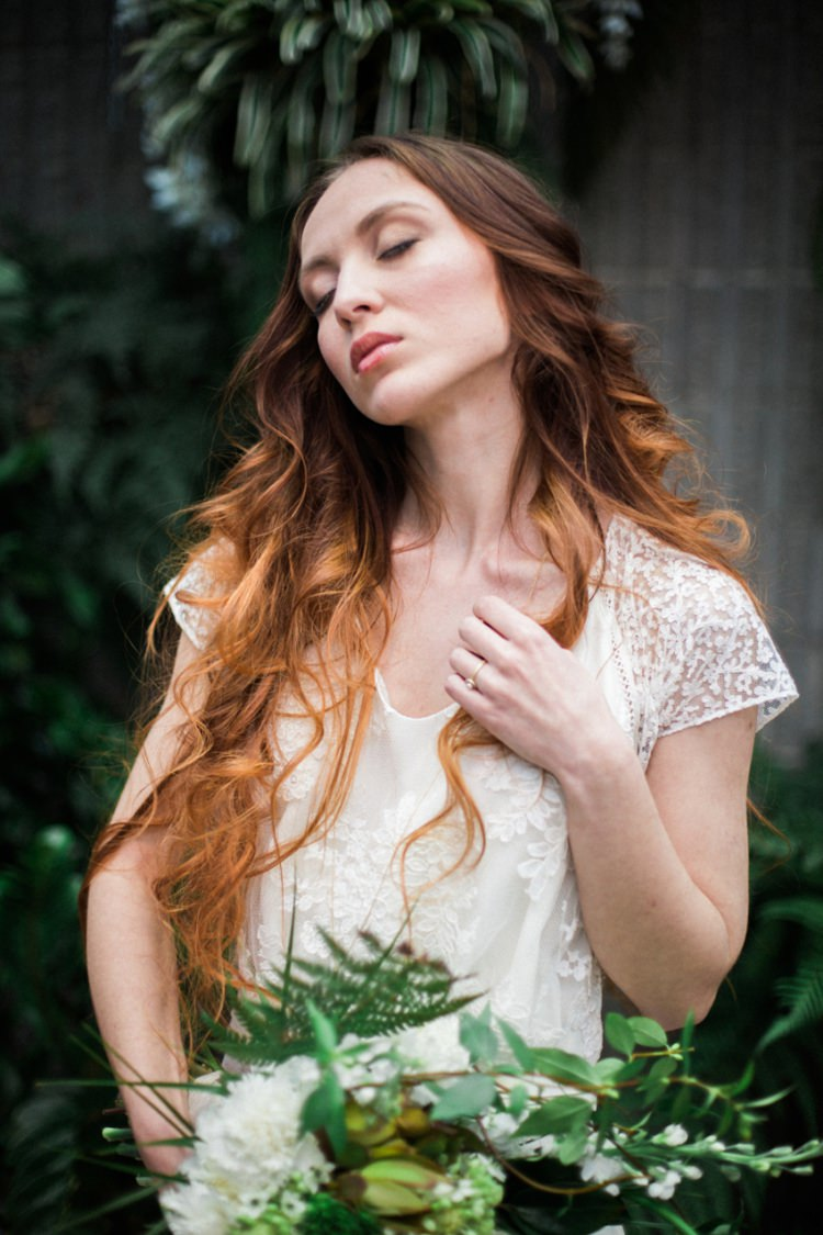 Conservatory Red Long Hair Bride Dress Lace Fine Art Green Foliage Bouquet | Greenery Botanical Wedding Ideas https://lisadigiglio.com/