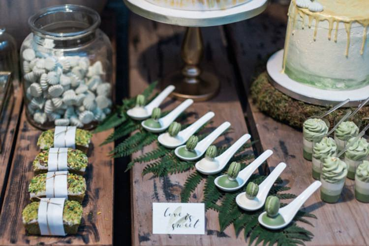 Conservatory Dessert Table Green Gold Ferns Foliage Simple Natural White Fresh | Greenery Botanical Wedding Ideas https://lisadigiglio.com/