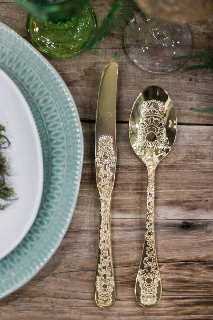 Gold Cutlery Green Plates Glasses Wood Rustic Ferns Foliage Simple Natural Moss | Greenery Botanical Wedding Ideas https://lisadigiglio.com/