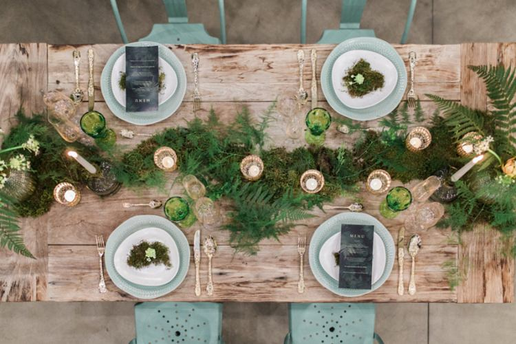 Conservatory Wood Table Moss Gold Ferns Foliage Simple Natural White | Greenery Botanical Wedding Ideas https://lisadigiglio.com/