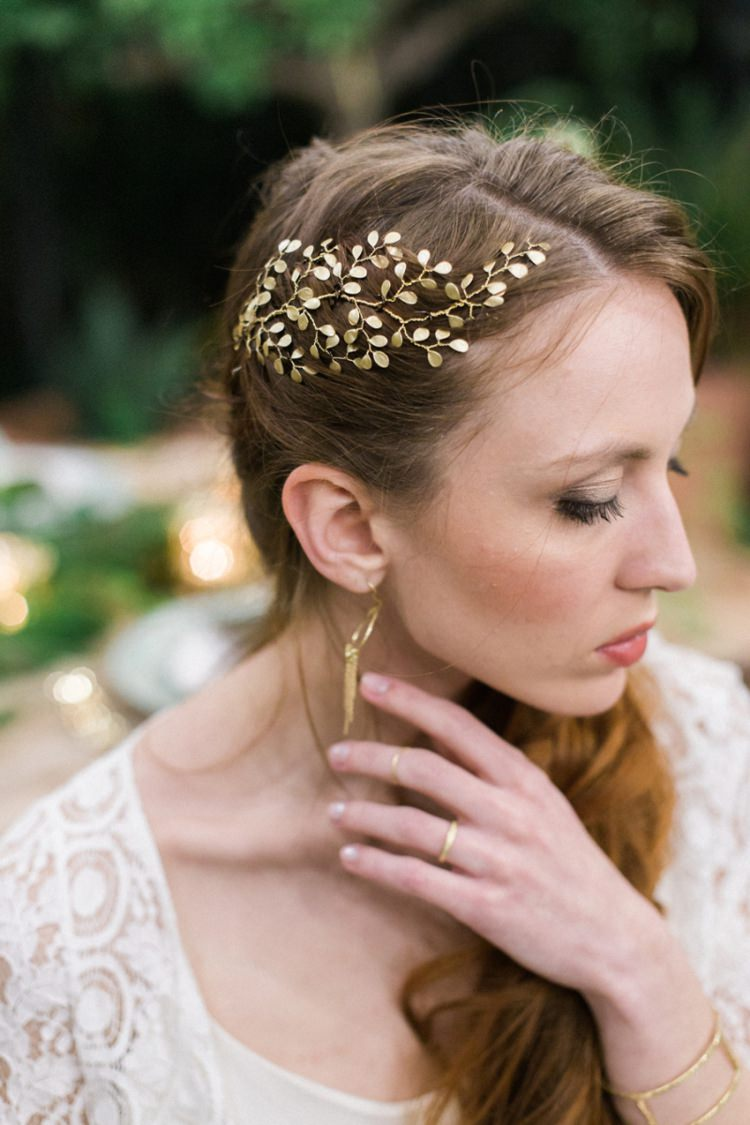 Bride Lace Dress Boho Fine Art Simple Natural Gold Handmade Jewelry Headpiece | Greenery Botanical Wedding Ideas https://lisadigiglio.com/