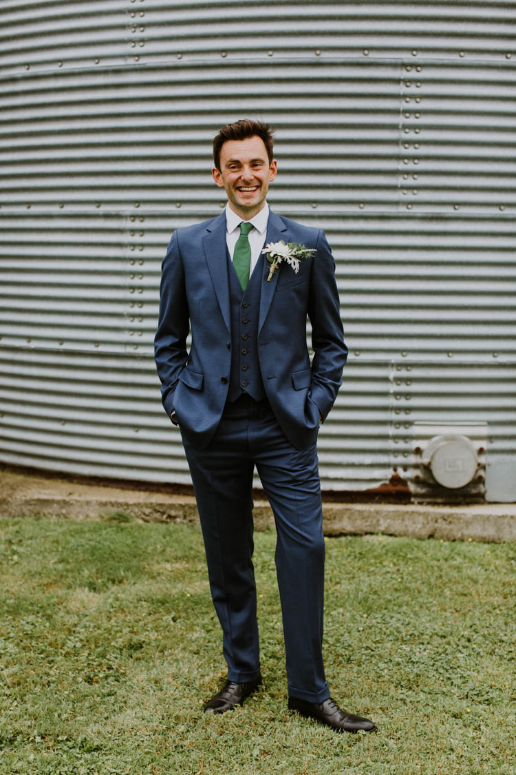 Blue Suit Green Tie Groom Unconventional Country Cotswolds Barn Wedding http://www.alexandrajane.co.uk/