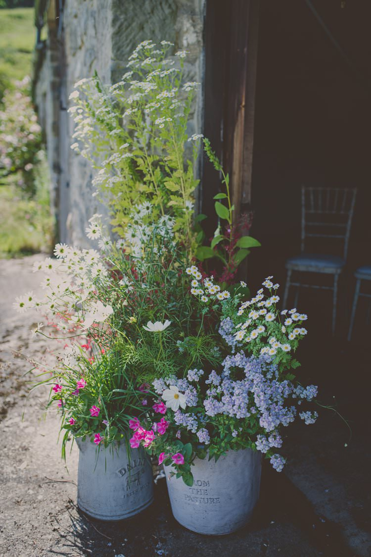 Galvanised Bucket Flowers Quirky Afternoon Tea Wedding http://laurarhianphotography.co.uk/