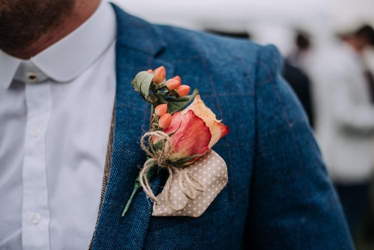 Rose Twine Buttonhole Groom Rustic Peaky Blinders Vineyard Wedding Yorkshire https://www.kazooieloki.co.uk/