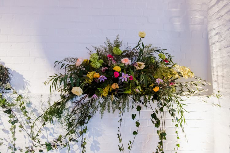 Alcove Florals Flower Foliage Multicolour Ivy Bright Very Colourful Quirky Fun City Wedding London http://www.babbphoto.com/