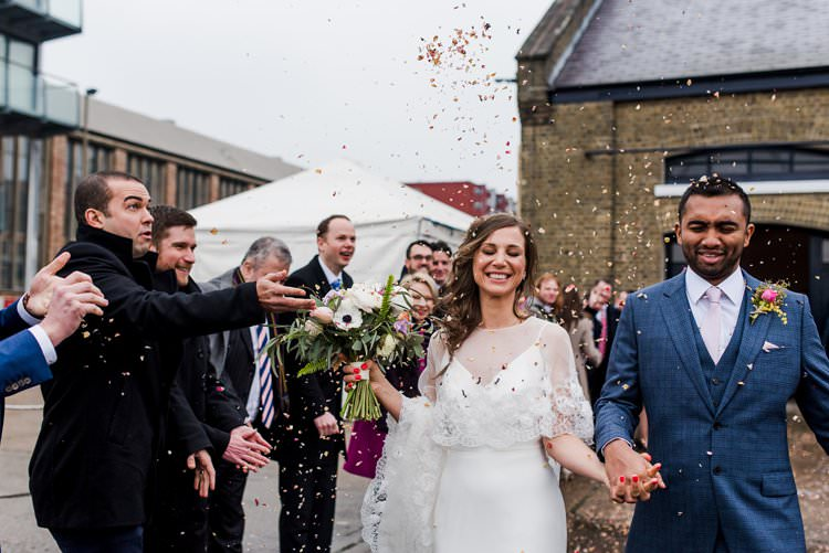 Sassi Holford Gown Dress Bride Bridal Cape Reiss Groom Three Piece Waistcoat Confett Shot Bright Very Colourful Quirky Fun City Wedding London http://www.babbphoto.com/