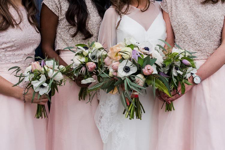 Bride Bridal Bridesmaids Bouquet Anemone Bright Very Colourful Quirky Fun City Wedding London http://www.babbphoto.com/