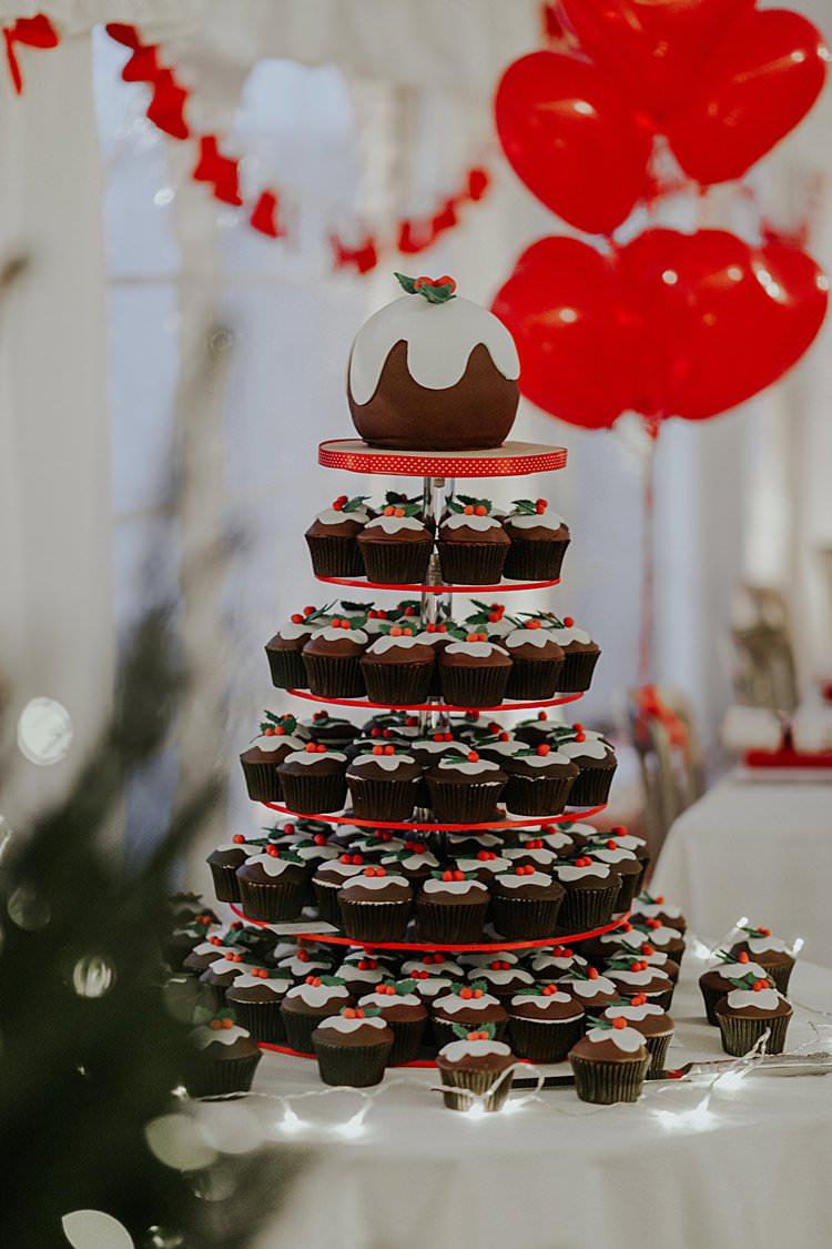 Pudding Cake Novelty Fun Cupcakes Tower Traditional Christmas Wedding Red Festive https://lolarosephotography.com/