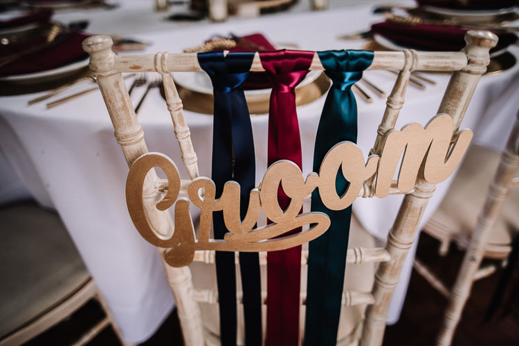 Chair Decor Ribbon Groom Bride Sign Luxe Rustic Autumn Berry Wedding http://www.oobaloosphotography.co.uk/