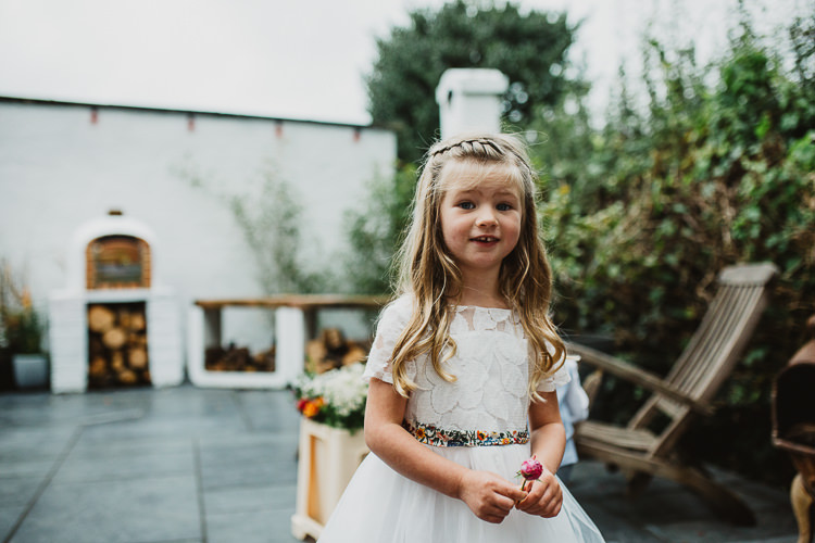Flower Girl White Dress Colourful DIY Floral Luxe Barn Wedding http://www.joemather-photography.co.uk/