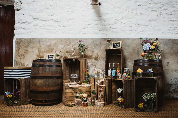 Wooden Crate Flowers Decor Colourful DIY Floral Luxe Barn Wedding http://www.joemather-photography.co.uk/