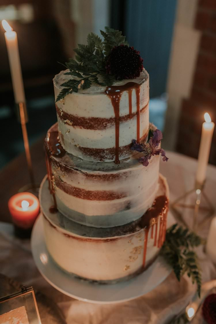 Semi Naked Cake Buttercream Drip Autumn Hygge Wedding Ideas http://meganelle.co.uk/