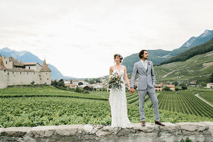 Beautiful Destination Mountains Summer Vineyards Fields Bride Groom | Romantic Castle Switzerland Wedding http://kbalzerphotography.com/