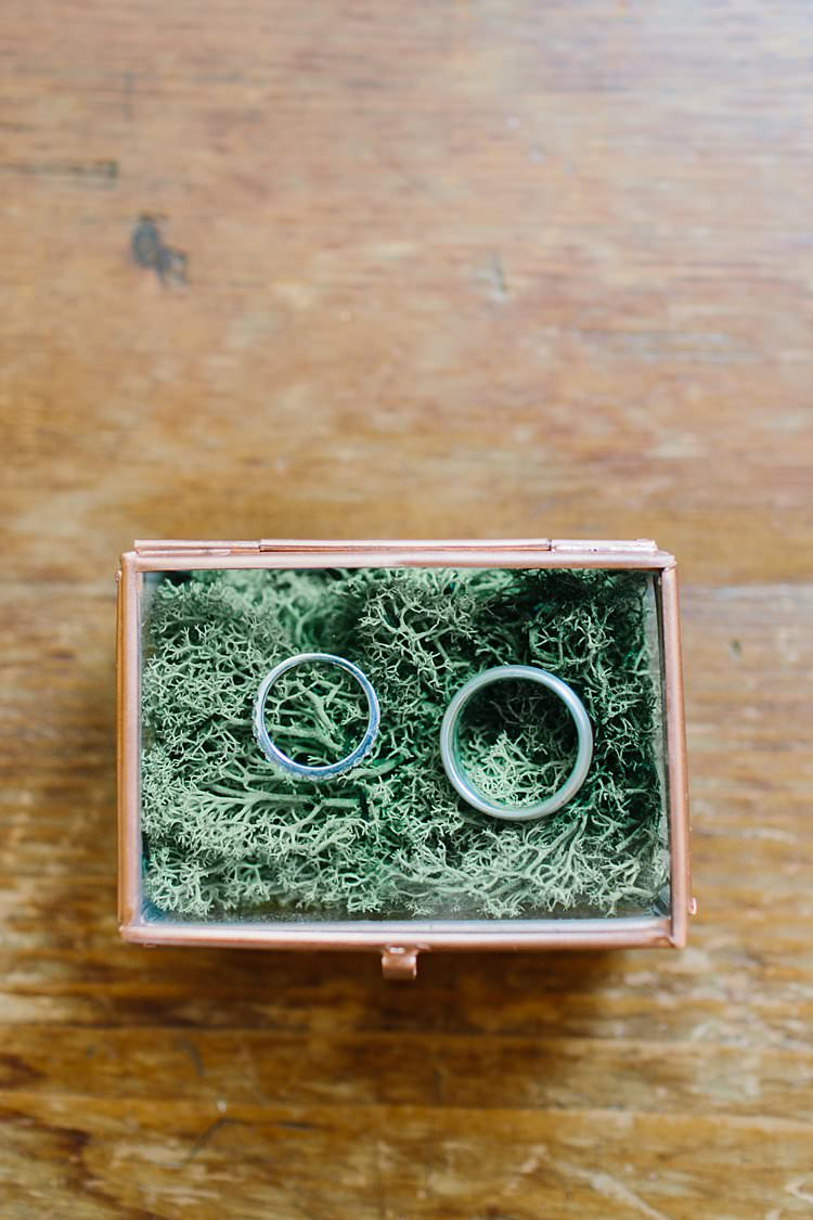 Destination Natural Wood Moss Brass Glass Box Rings Summer | Romantic Castle Switzerland Wedding http://kbalzerphotography.com/