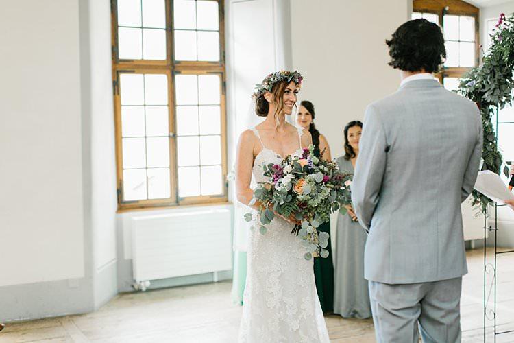 Destination Ceremony Bride Groom Aisle Wild Natural Bouquet Vows | Romantic Castle Switzerland Wedding http://kbalzerphotography.com/