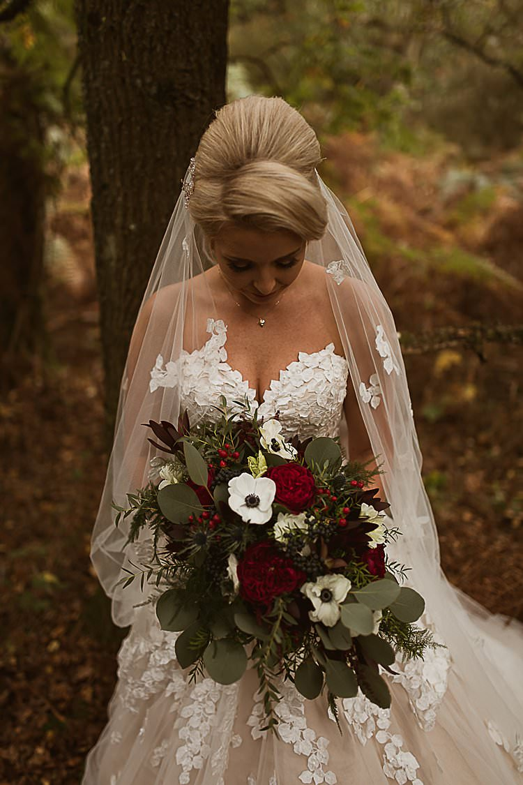 Bouquet Flowers Bride Bridal Berry Eucalyptus Beautiful Vibrant Dark Red Autumn Wedding http://thespringles.com/