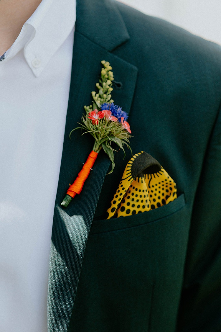 Buttonhole Groom Pocket Square Mega Laid Back Festival Party Wedding http://www.jessicawilliams.photography/