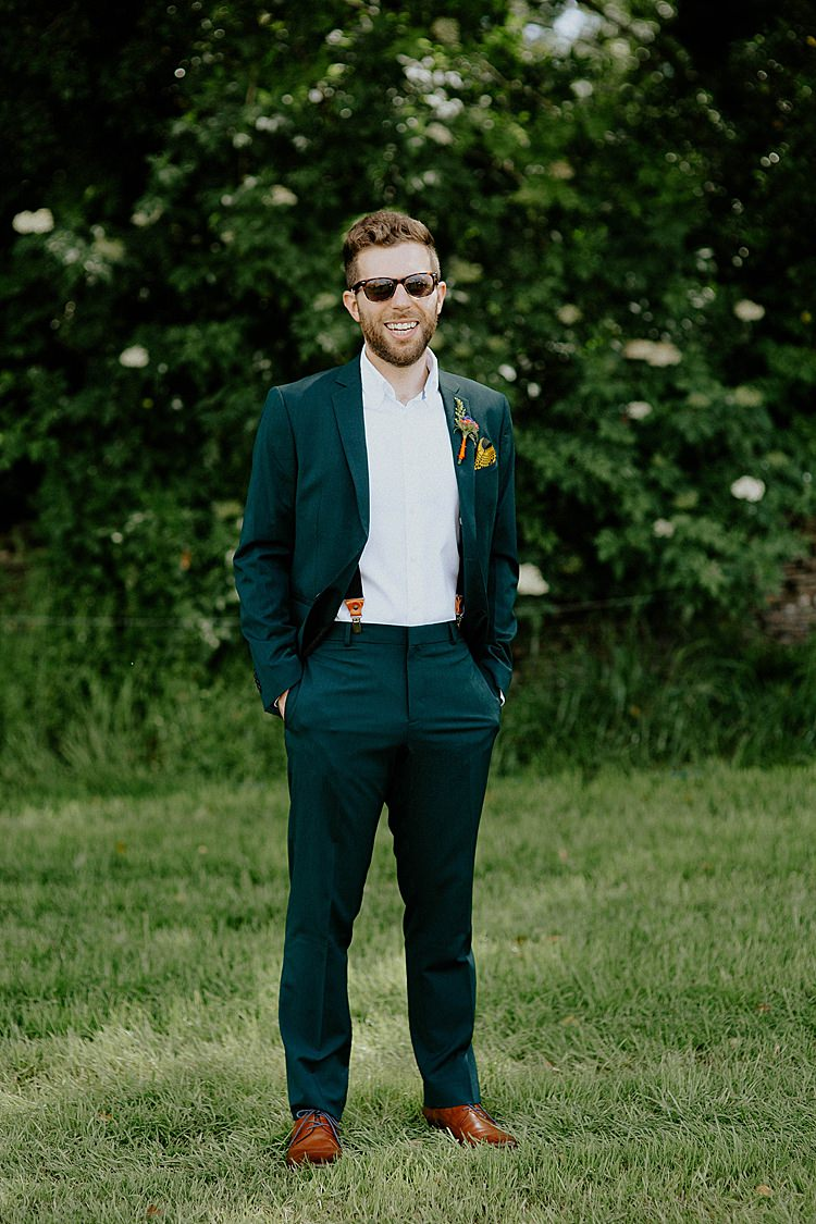 Dark Green Suit Groom Mega Laid Back Festival Party Wedding http://www.jessicawilliams.photography/
