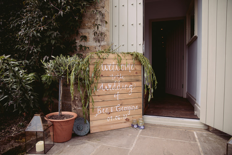 Painted Wooden Sign Greenery Welcome Gorgeous Gold Navy Wow Factor Wedding http://hayleybaxterphotography.com/