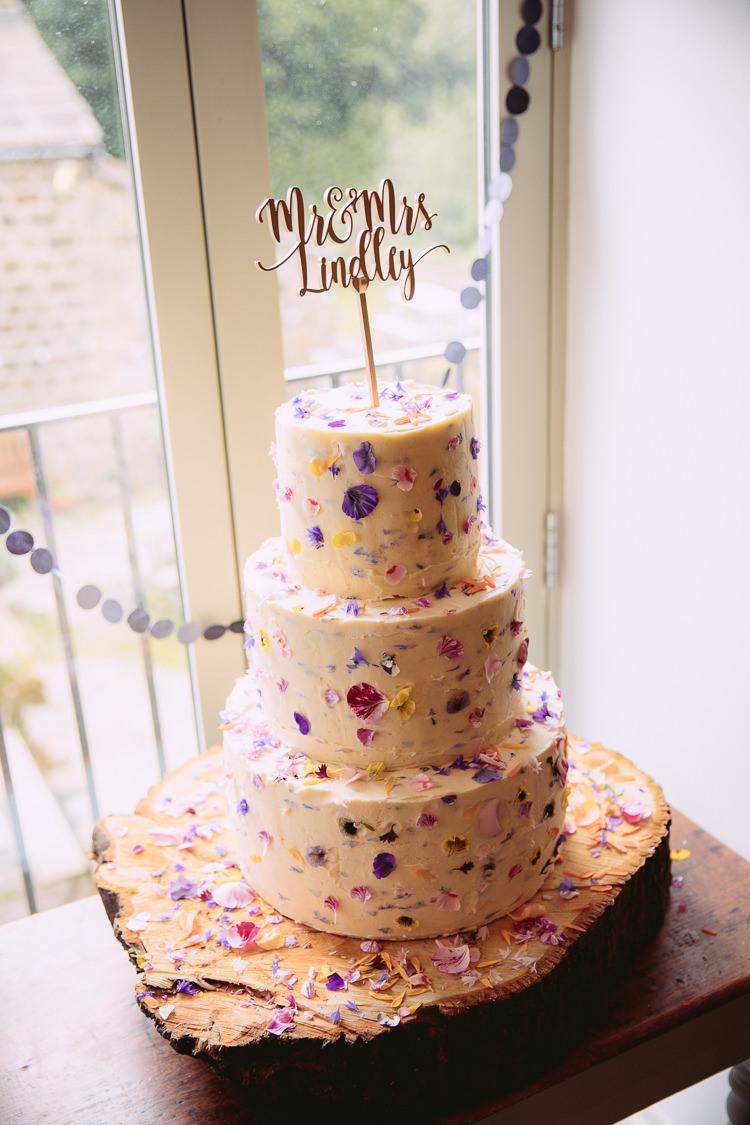 Edible Petal Cake Log Stand Topper Gorgeous Gold Navy Wow Factor Wedding http://hayleybaxterphotography.com/