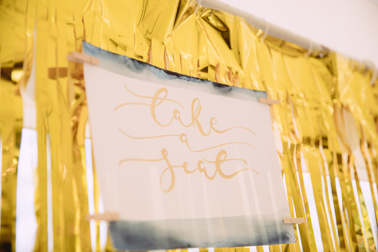 Streamer Backdrop Seating Plan Table Chart Gorgeous Gold Navy Wow Factor Wedding http://hayleybaxterphotography.com/
