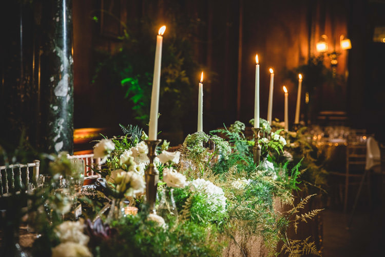 Candlesticks Foliage Top Table Greenery Gold Sequins Marble Greenery Vintage Glamour Wedding https://www.tobiahtayo.com/