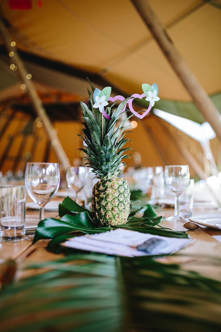 Pineapple Palm Leaves Tables Decor Tropical Countryside Tipi Wedding https://parkershots.com/