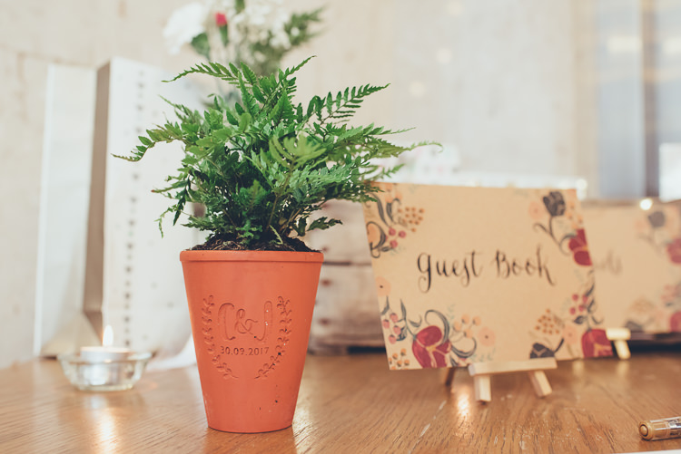 Engraved Plant Pot Guest Book Easel Floral Stationery Relaxed Rustic Decor | Greenery Burgundy City Autumn Wedding http://lisahowardphotography.co.uk/