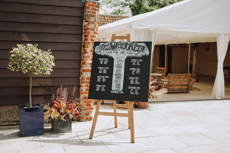 Tree Black Chalk Board Seating Plan Table Chart Orange Country Barn Wedding http://www.meganduffield.com/