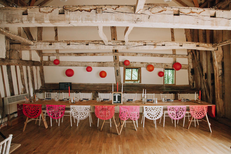 Top Table Bunting Decor Lanterns Orange Country Barn Wedding http://www.meganduffield.com/