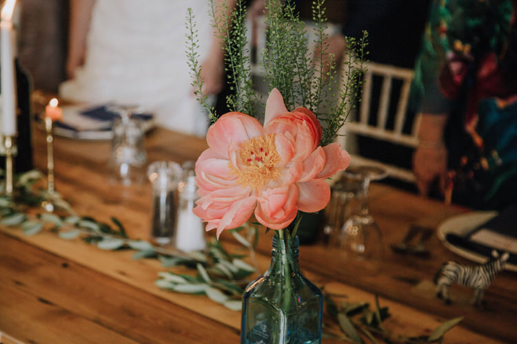 Coral Peony Flowers Bottles Orange Country Barn Wedding http://www.meganduffield.com/