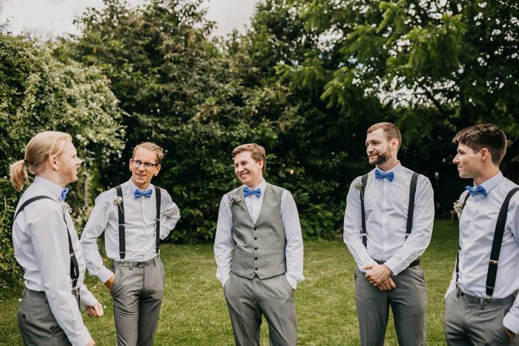 Groom Groomsmen Bowties Braces Suspenders Grey Suits Informal   Rustic Relaxed Cornflower Blue Barn Wedding http://www.peterhugophotography.com/