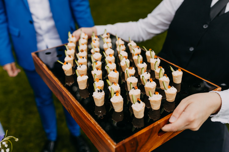 Canapes Appetisers Reception Cocktail Hour Party Food Cone   Rustic Relaxed Cornflower Blue Barn Wedding http://www.peterhugophotography.com/