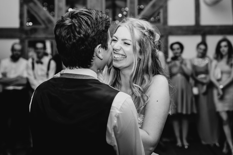 Bride Groom First Dance Laughing Black and White Informal Fun   Rustic Relaxed Cornflower Blue Barn Wedding http://www.peterhugophotography.com/