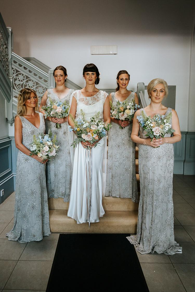 Bride Bridesmaids Vintage 1920s Silver Column Dress Sequin Beaded | Glitter Dinosaurs City Wedding https://struvephotography.co.uk/