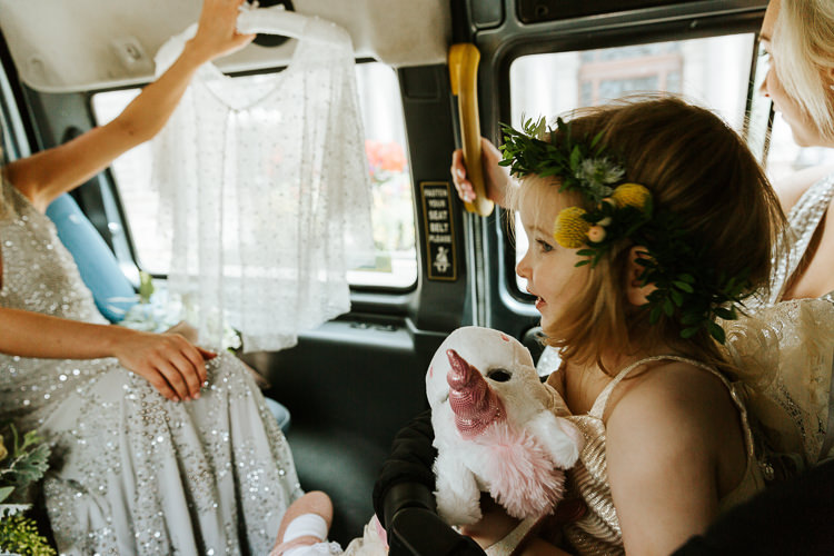 Adorable Flower Girl Unicorn Silver Sequin Dress | Glitter Dinosaurs City Wedding https://struvephotography.co.uk/