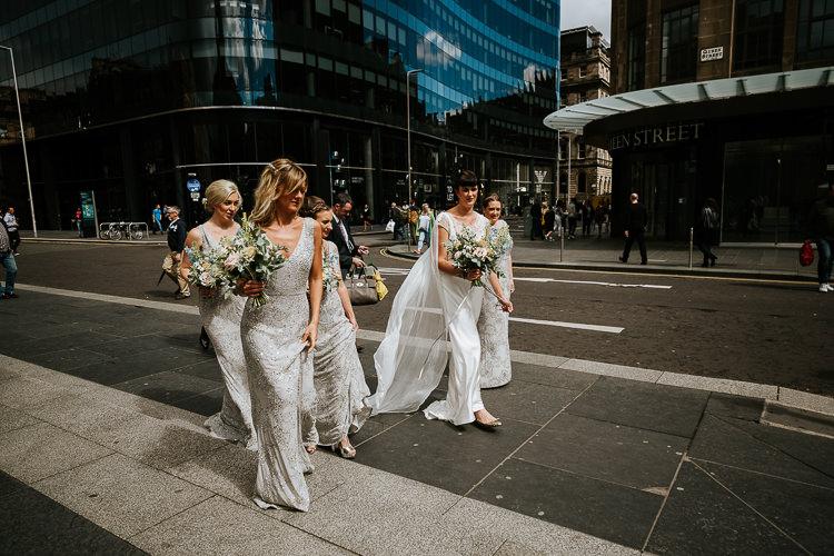 Bride Bridesmaids Street Glasgow Edinburgh Relaxed Informal Fun | Glitter Dinosaurs City Wedding https://struvephotography.co.uk/