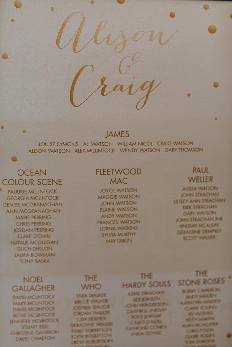 Bride Groom Gold Glitter Table Plan Chart Music Theme | Glitter Dinosaurs City Wedding https://struvephotography.co.uk/
