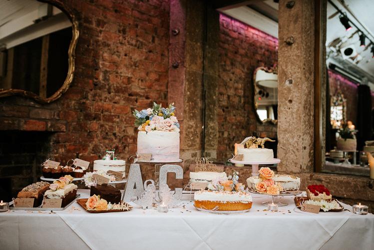 Wedding Cakes Dessert Table Glitter Dinosaurs Toppers Fun Quirky | Glitter Dinosaurs City Wedding https://struvephotography.co.uk/